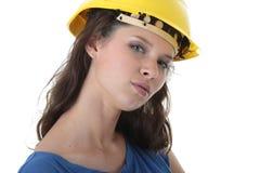 Contratante 'sexy' do trabalhador da construção da mulher nova Foto de Stock