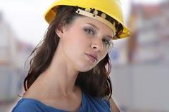 Contratante 'sexy' do trabalhador da construção da mulher nova Foto de Stock Royalty Free