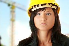 Contratante 'sexy' do trabalhador da construção da mulher nova fotos de stock