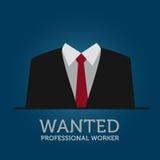 Contrate uma ilustração profissional do anúncio do trabalhador Imagem de Stock