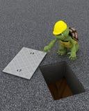 Contratista de obras de la tortuga stock de ilustración