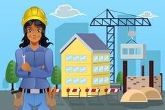 Contratista delante de una casa stock de ilustración