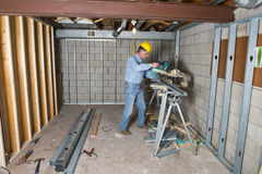 Contratista, trabajador de construcción, mejoras para el hogar Fotos de archivo