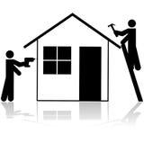 Contratistas que trabajan en casa libre illustration
