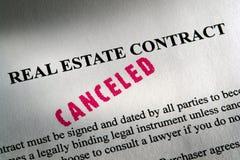 Contrato cancelado dos bens imobiliários fotografia de stock royalty free