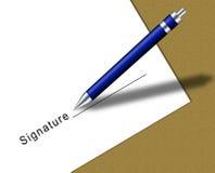 Contrato con el espacio y la pluma de la firma Fotografía de archivo