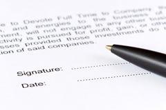 Contrato da assinatura Imagem de Stock
