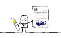 Contrato de assinatura do homem de negócios Fotografia de Stock