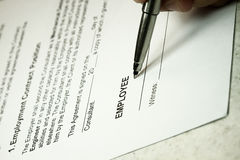 Contrato de emprego Imagem de Stock Royalty Free