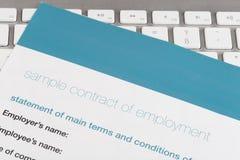 Contrato de emprego Fotos de Stock