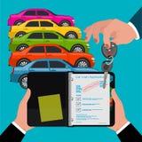 contrato de préstamo aprobado de coche, mano que lleva a cabo las llaves, ejemplo del vector Foto de archivo
