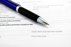 Contrato de seguro Fotografía de archivo libre de regalías