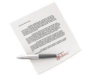 Contrato de Signin Fotografia de Stock