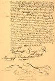 Contrato de unión anticuado 1656. foto de archivo