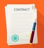 Contrato del ejemplo del negocio con la pluma Imágenes de archivo libres de regalías