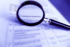 Contrato do estudo, especificações liquidadas dos danos Foto de Stock