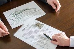 Contrato dos bens imobiliários Imagem de Stock