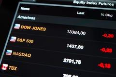 Contrats à terme d'incréments de capitaux propres sur un écran neuf d'Ipad Photographie stock