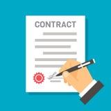 Contratto di firma della mano piana di progettazione Fotografia Stock Libera da Diritti