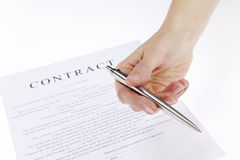 Contratto di sign Fotografie Stock Libere da Diritti
