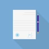 Contratto e penna lunghi dell'ombra dell'icona di accordo nello stile piano Illustrazione di Stock