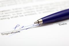 Contratto firmato Fotografia Stock