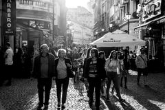 Contre-Jour Black And White Photography Of Tourists Visiting Bucharest Royalty Free Stock Images