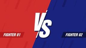 Contre l'écran Contre le titre de bataille, le duel de conflit entre les équipes rouges et bleues Concurrence de combat de confro illustration libre de droits