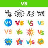 CONTRE l'abréviation, contre l'ensemble d'icônes de couleur de vecteur illustration stock
