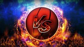 Contre le fond de combat Contre le combat de bataille Basket-ball Animation de boucle de concept de bataille de sport illustration stock