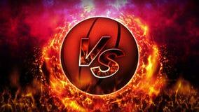 Contre le fond de combat Contre le combat de bataille Basket-ball Animation de boucle de concept de bataille de sport illustration de vecteur