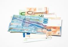 Contreseings et euro suisses image libre de droits