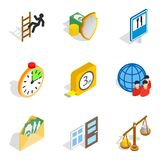 Contribua os ícones ajustados, estilo isométrico ilustração do vetor