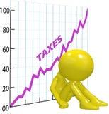 Contribuente di rovina 3D del diagramma di aumento di imposta elevata Immagine Stock