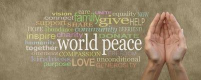 Contribuisca all'insegna di campagna di pace di mondo Immagine Stock