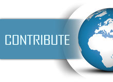Contribute. Concept with globe on white background Royalty Free Stock Images