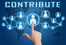 Contribute. Concept with hand pressing social icons on blue world map background Royalty Free Stock Images