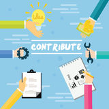 Contribute contribution hand give money help work together as a team. Concept vector stock illustration