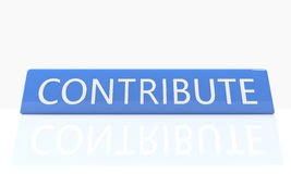 Contribute. 3d render blue box with text Contribute on it on white background with reflection Royalty Free Stock Images