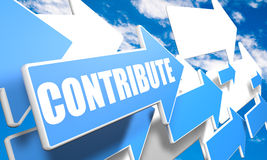 Contribute. 3d render concept with blue and white arrows flying in a blue sky with clouds Stock Images