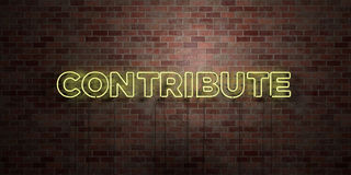 CONTRIBUTE - fluorescent Neon tube Sign on brickwork - Front view - 3D rendered royalty free stock picture Royalty Free Stock Images