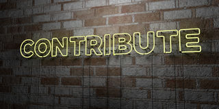CONTRIBUTE - Glowing Neon Sign on stonework wall - 3D rendered royalty free stock illustration Royalty Free Stock Photos