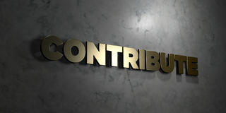 Contribute - Gold text on black background - 3D rendered royalty free stock picture Stock Image