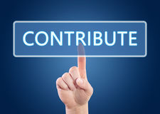Contribute. Hand pressing Contribute button on interface with blue background Royalty Free Stock Photography
