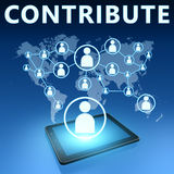 Contribute. Illustration with tablet computer on blue background Royalty Free Stock Photos