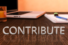 Contribute. Letters on wooden desk with laptop computer and a notebook. 3d render illustration Royalty Free Stock Images