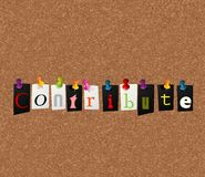 Contribute notice concept. One of the positive words series Stock Image