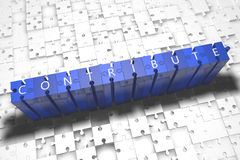 Contribute. Puzzle 3d render illustration with block letters on blue jigsaw pieces Stock Photos