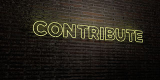 CONTRIBUTE -Realistic Neon Sign on Brick Wall background - 3D rendered royalty free stock image Stock Photos