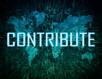 Contribute. Text concept on green digital world map background Royalty Free Stock Images